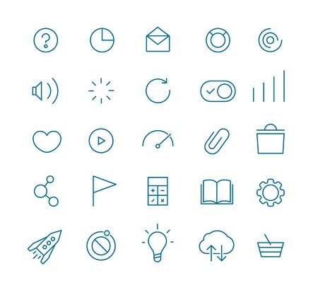 rubbish cart: Modern web and mobile application pictograms collection. Lineart intercece icons set