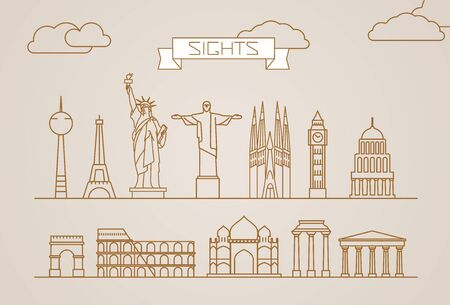 bigben: World famous signts abstract lineart silhouettes