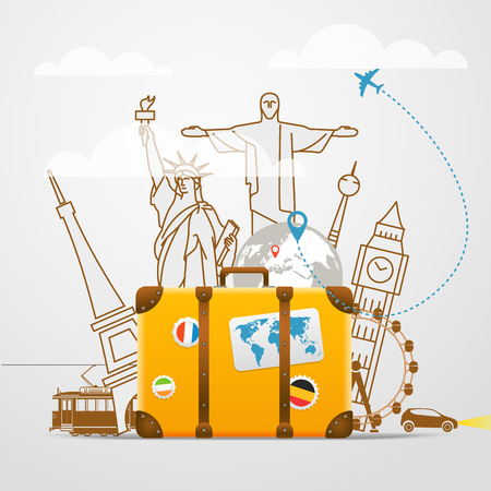 composición de viaje de vacaciones con el bolso amarillo Ilustración de vector