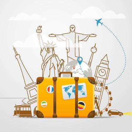 luna de miel: composición de viaje de vacaciones con el bolso amarillo