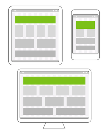 page site: Adaptive design layouts. Web site page templates collection on different platforms
