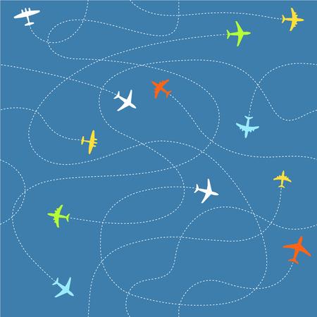 different ways: Different plane ways abstract scheme. Seamless vector pattern