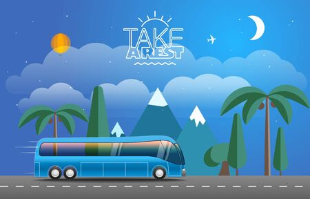 tour bus: Take Vacation travelling concept. Flat design illustration