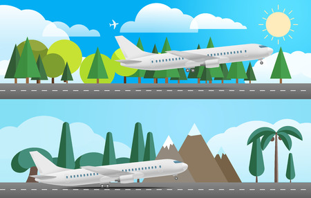different countries: Aircraft in different countries. Flat design illustration
