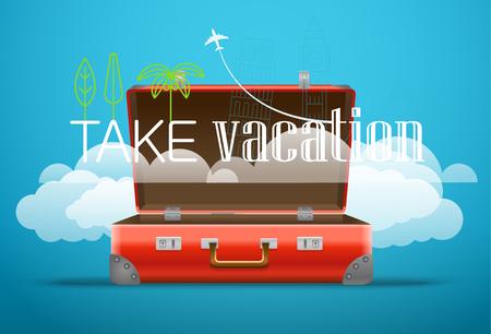 take: Take Vacation travelling concept. Flat design illustration