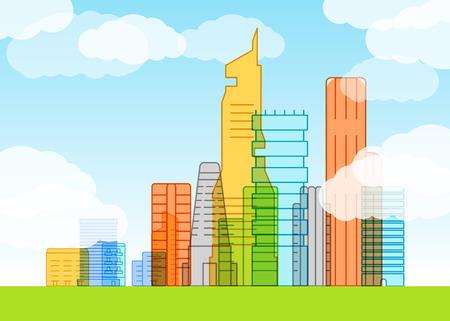 lineart: Modern city illustration. Lineart concept
