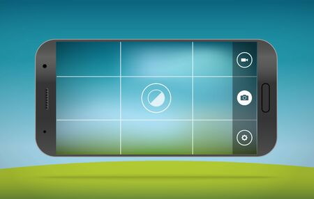 phone system: Modern smartphones photo application template. Vector layout