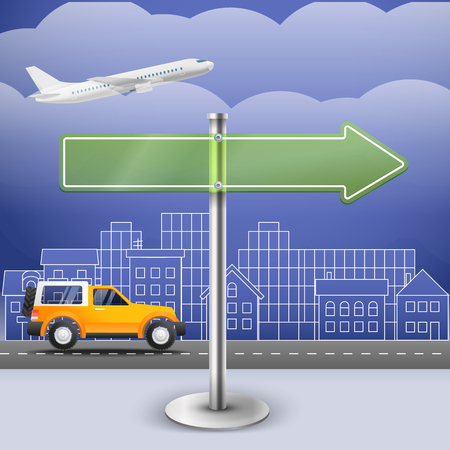 trafic: Blank glass arrow board. City trafic illustration. Template for a text. Direction to  the right Illustration