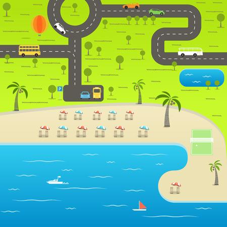 balloon volleyball: temporada de verano vacaciones en la playa ilustraci�n. Concepto de las vacaciones del vector