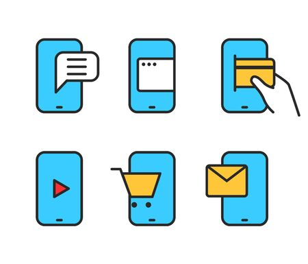 lineart: Different smartphone pictograms Lineart design collection
