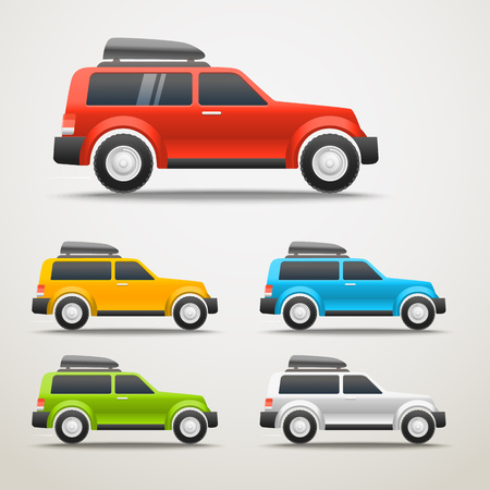 wagon wheel: Different color cars vector illustration