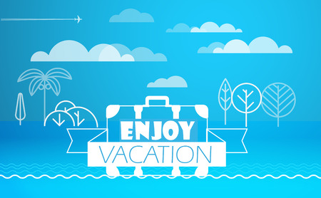 seacoast: Travel vector illustration. Enjoy vacation concept