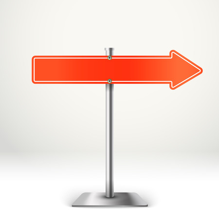 advertising column: Blank metal red arrow board. Template for a text. Direction to the right Illustration