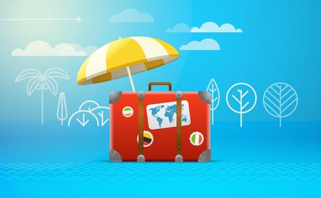 bagagli: Borsa da viaggio illustrazione vettoriale. concetto di vacanza Vettoriali