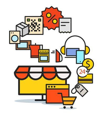 web commerce: Modern web commerce scheme. Flat design shopping concept Illustration