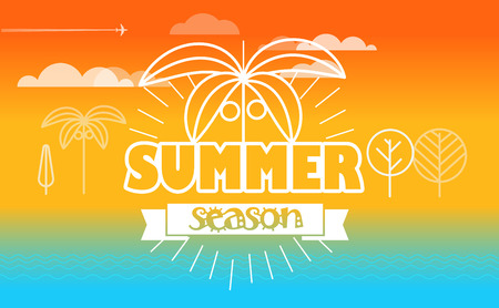 seacoast: Travel vector illustration. Summer season concept
