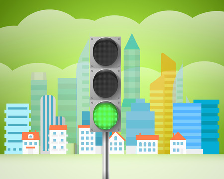 trafic: Cityscape with the traffic light. City trafic illustration