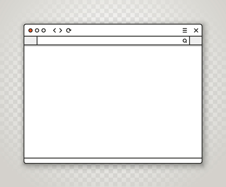Opened browser window template on transparent background. Past your content into it Vectores