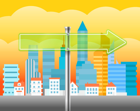 trafic: Cityscape with the glass board. City trafic illustration. Direction to the right Illustration