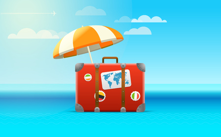 seacoast: Travel bag vector illustration. Vacation concept