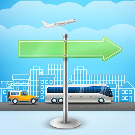 flechas direccion: la tarjeta de cristal blanco de la flecha. Ilustración de la ciudad tráfico. Plantilla para un texto. Dirección hacia la derecha Vectores