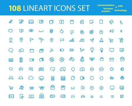lineart: Different lineart interfece icons big collection