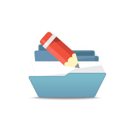 office stuff: Computer interface folder vector illustration. Open folder isolated on white. Find  files Illustration