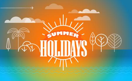 seacoast: Travel vector illustration. Summer holidays concept