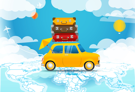 Take Vacation. Car travelling concept. Flat design vector illustration