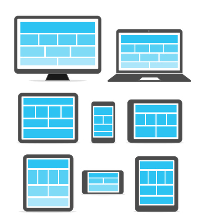 web site design: Adaptive design layouts. Web site page templates collection on different devices Illustration