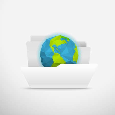 office stuff: Computer interface folder vector illustration. Open folder illustration. Earth Illustration