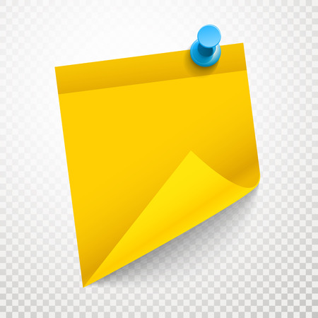 memos: Blank yellow sticker with bending corner on transparent background