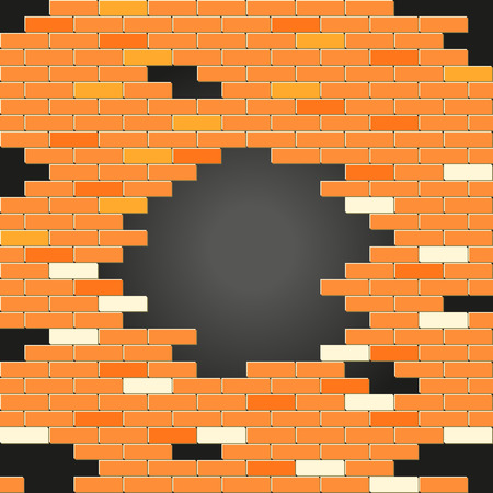 holes: Red brick wall with a holes Illustration