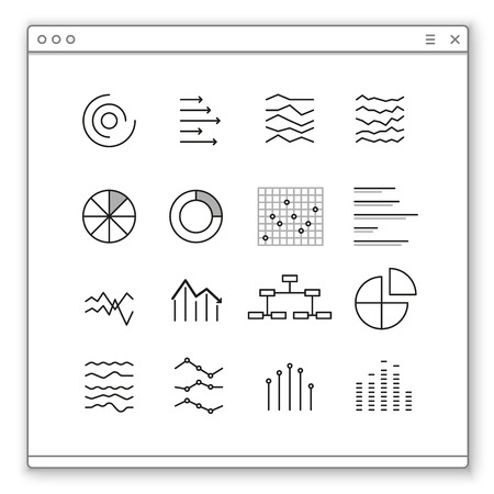 parameter: Different graphic ratings and cherts .Opened browser window template. Past your content into it Illustration