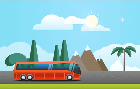 hot tour: Take Vacation travelling concept. Flat design illustration
