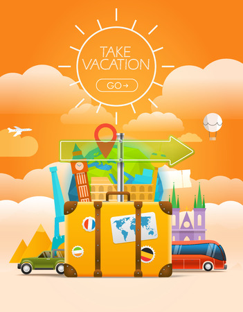 travel logo: Vacation travelling concept. Vector travel illustration with the bag. Take vacation concept with the logo