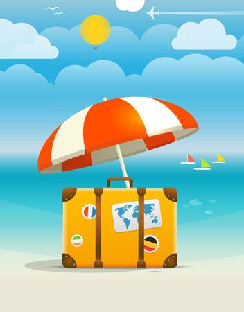 beach bag: Summer seaside vacation illustration. Illustration