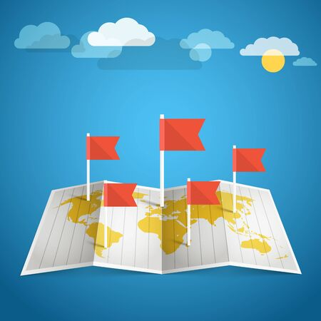 flags of the world: World map with red flags. Design elements Illustration