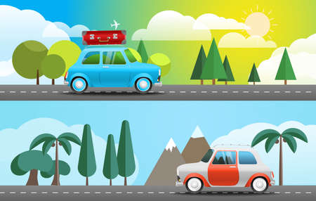 bagagli: Take Vacation travelling concept. Flat design illustration