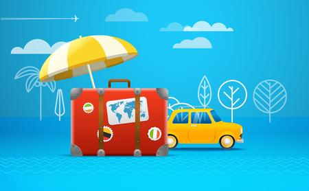 seacoast: Travel bag vector illustration. Vacation concept. Retro car vacation