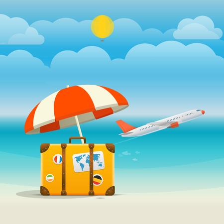 aircraft: Flying aircraft vacation concept. Flat design illustration