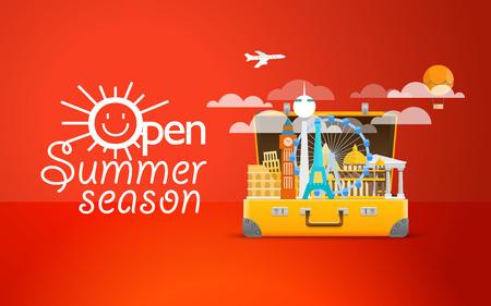 Travel bag vector illustration. Vacation design template. Open summer season logo Illustration