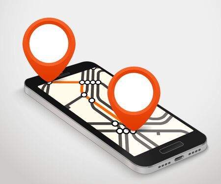travel phone: Modern smartphone with abstract metro map. Dark mobile phone and a map  vector illustration. City travel concept Illustration