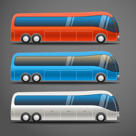 motor de carro: color diferente Ilustraci�n de la ciudad de vectores de autobuses Vectores