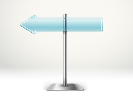 column: Blank metal glass arrow board. Template for a text. Direction to the left
