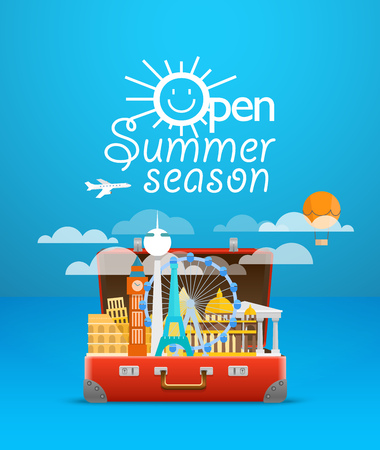 Travel bag vector illustration. Vacation design template. Open summer season 일러스트