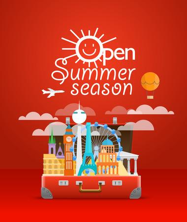 Travel bag vector illustration. Vacation design template. Open summer season