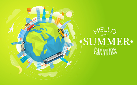 summer vacation: Across the world tour by different vehicle. Travel concept vector illustration. Hello  summer vacation