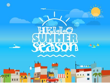 concept de voyage vacances. illustration vectorielle design plat. Bonjour saison d'été