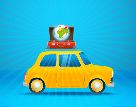map case: Travel bag on the car vector illustration. Vacation concept Illustration